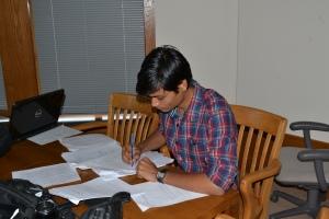 An advanced student preparing to present